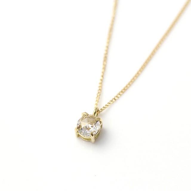 hirondelle et pepin k18 hn-486-16s 4つ爪 ローズカットダイヤ ネックレス