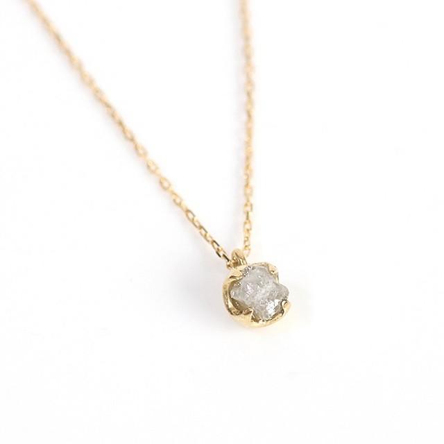sinck18 一粒 原石ダイヤモンド ネックレス/グレー